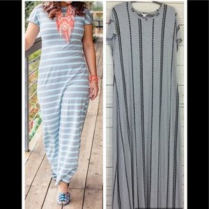 Lularoe Maria - Gray Black Stripes Maxi Dress
